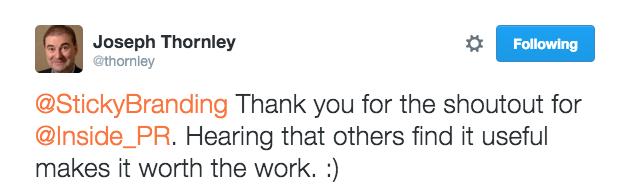 Gratitude Tweet by Joe Thornley